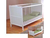 White Solid Wood Baby Cot Bed & Deluxe Foam Mattress