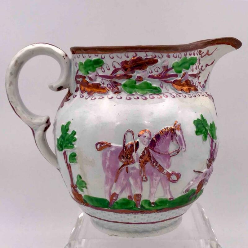 19th C Hand Painted English Copper Lustre/Luster Porcelain Pitcher Hunting Scene