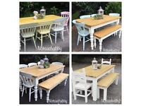 STUNNING 5FT 6FT PINE FARMHOUSE TABLES BENCHES AND CHAIRS