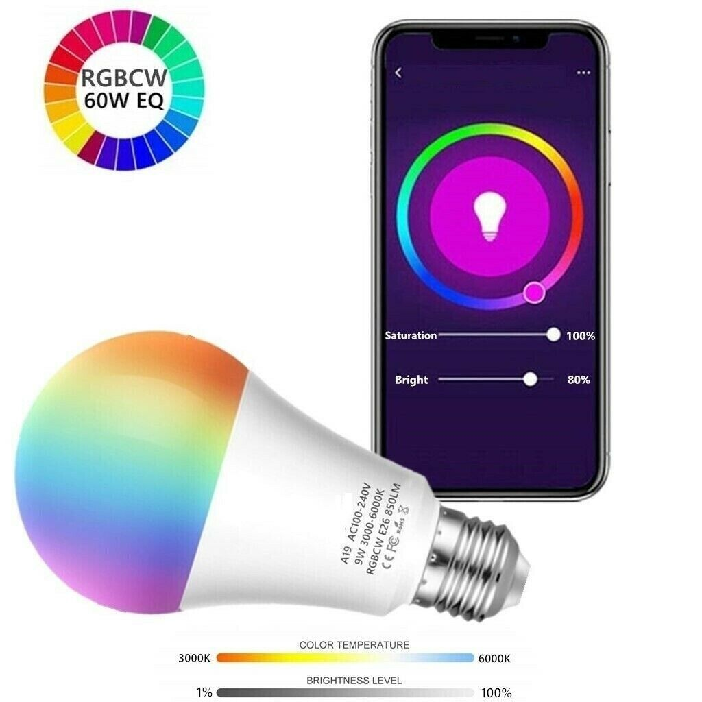 Wifi Smart Bulb LED Light 9W  A19 850LM RGBW Dimmable for Al