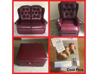 Recliner Chair, 2 Seater Sofa & Foot Stool/storage. Leather 3 piece suites.
