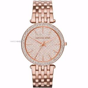 Michael Kors Women's Rose Goldtone Darci Watch With Pave Dia MK3439