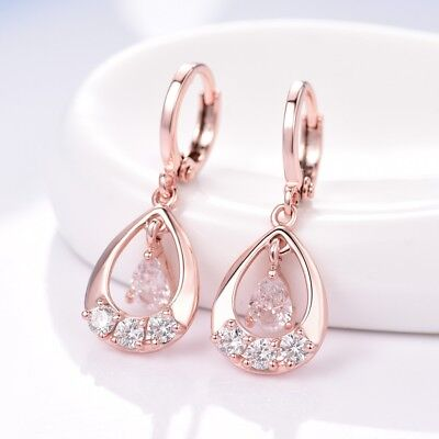 Womens Stunning 18K Rose Gold Filled White Topaz Dangle Drop Leverback -