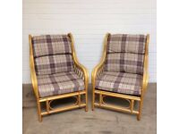 Cane conservatory furniture - one double chair and two singles