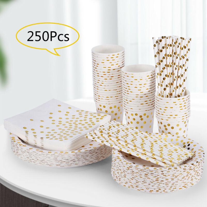 Gold Dot Disposable Paper Plates And Cups Set Party Wedding