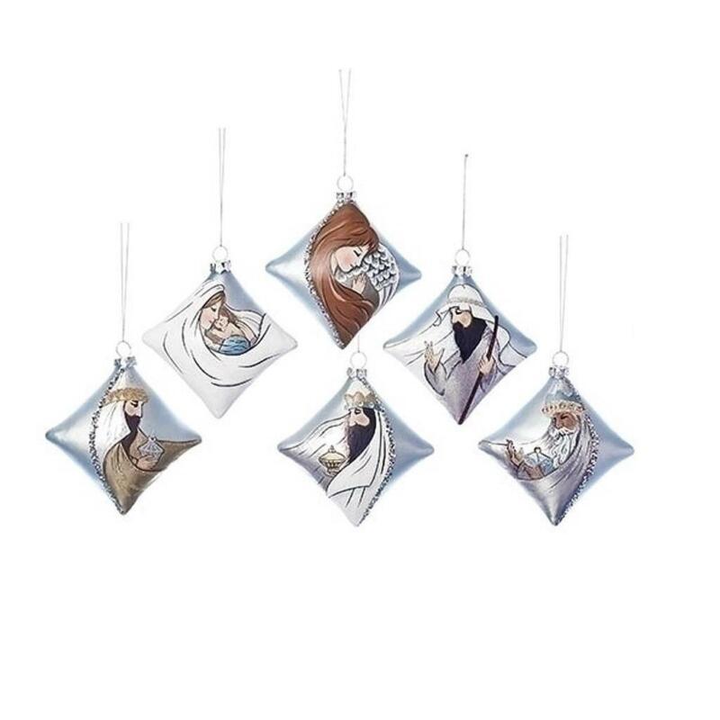 Roman Silver Nativity Pillow Shaped Painted Glass 6 pc Ornament Set 131287