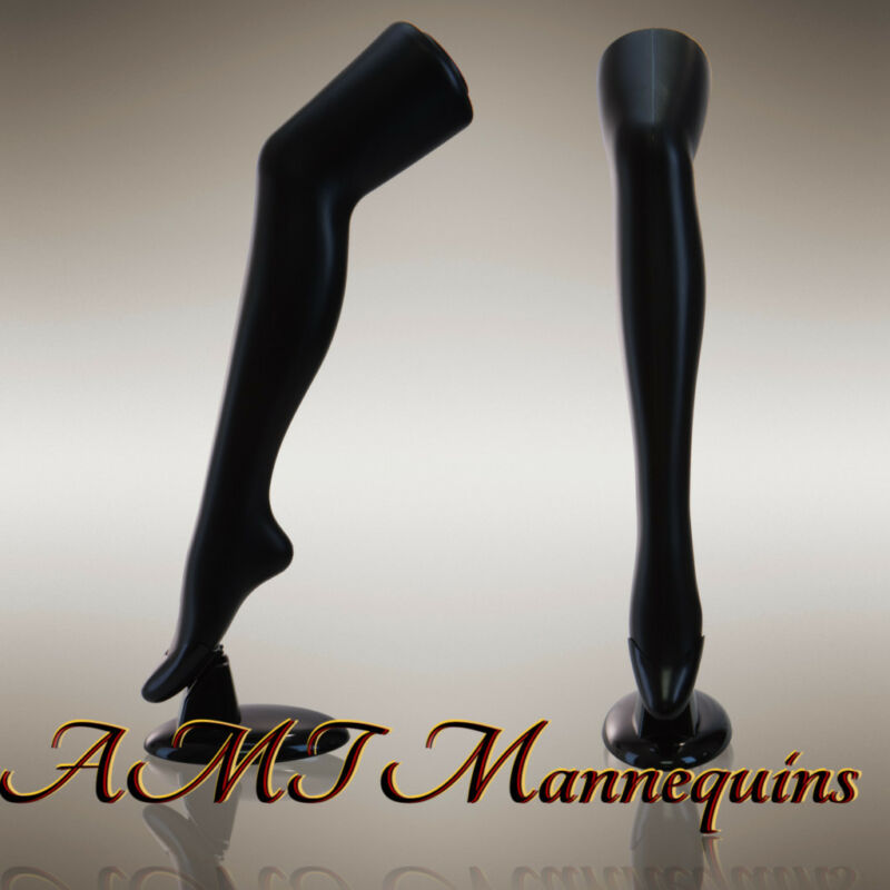 """Female display plastic mannequin legs + removable stands, 29"""" tall- 1 Black Leg"""