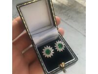 Sterling silver never worn simulated diamond and emerald earrings