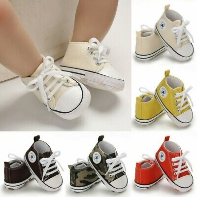 Cute Newborn Kid Canvas Sneakers Baby Boy Girl Soft Sole Crib Shoes Prewalkers