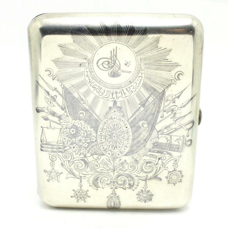 RARE Vintage 1900 Russian Sterling Cigarette Case Niello OTTOMAN Coat of ARMS