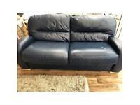 Large Dark Blue Leather Sofa Bed