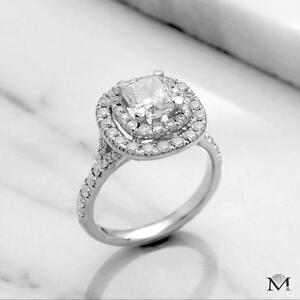 BAGUE DE FIANÇAILLES AVEC DIAMANT CUSHION DE 1.35 CARAT / ENGAGEMENT RING WITH A 1.35 CARAT CUSHION DIAMOND
