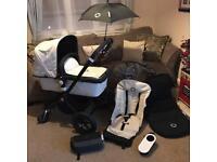 Bugaboo Cameleon Black with Limited Edition White Fabrics RARE Bundle Set Stroller Pushchair