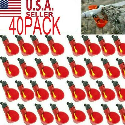 40pack Poultry Water Drinking Cups Chicken Hen Plastic Automatic Drinker Quail