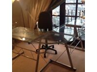 Glass corner desk, office chair, filing cabinet and drawer unit