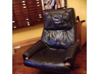LEATHER SWIVEL RECLINER CHAIR COLOURED BROWN