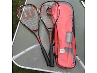 Pair of Wilson Hyper Titanium Squash Rackets With Case + Balls.
