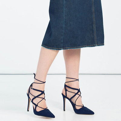 Zara High Heel Blue Lace-Up Shoes Size 6.5