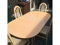 Lovely 4ft / 6ft Extending Dining Table And 4 Chairs. Can Deliver