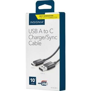 Insignia NS-MCAB10-C 3.05m (10 ft.) USB 2.0 to USB-C Charge/Sync Cable (Open Box)