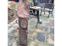 Old leather golf bags
