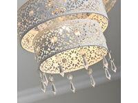 NEW Unique 3 Tier Moroccan White Jewelled Droplet Pendant Light Chandelier