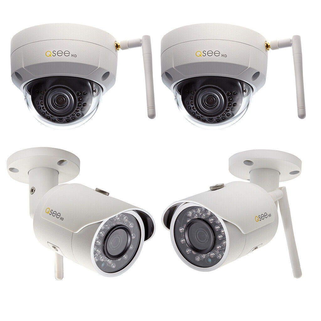 New Q-See QCW4K1MCB-2 4K Wifi Cube Security Camera PIR Night Vision Black 2-Pack