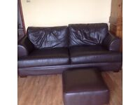 Dark brown leather sofa and footstool - FREE FOR COLLECTION
