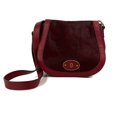 Fossil Women's Cowhide Crossbody Bag Red Pony Hair Flap Snap Sling Pocket