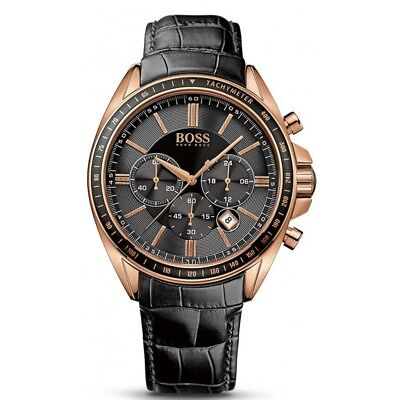 HUGO BOSS MENS DRIVER CHRONOGRAPH WATCH HB1513092  BLACK DIAL LEATHER, RRP - Driver Chronograph Watch
