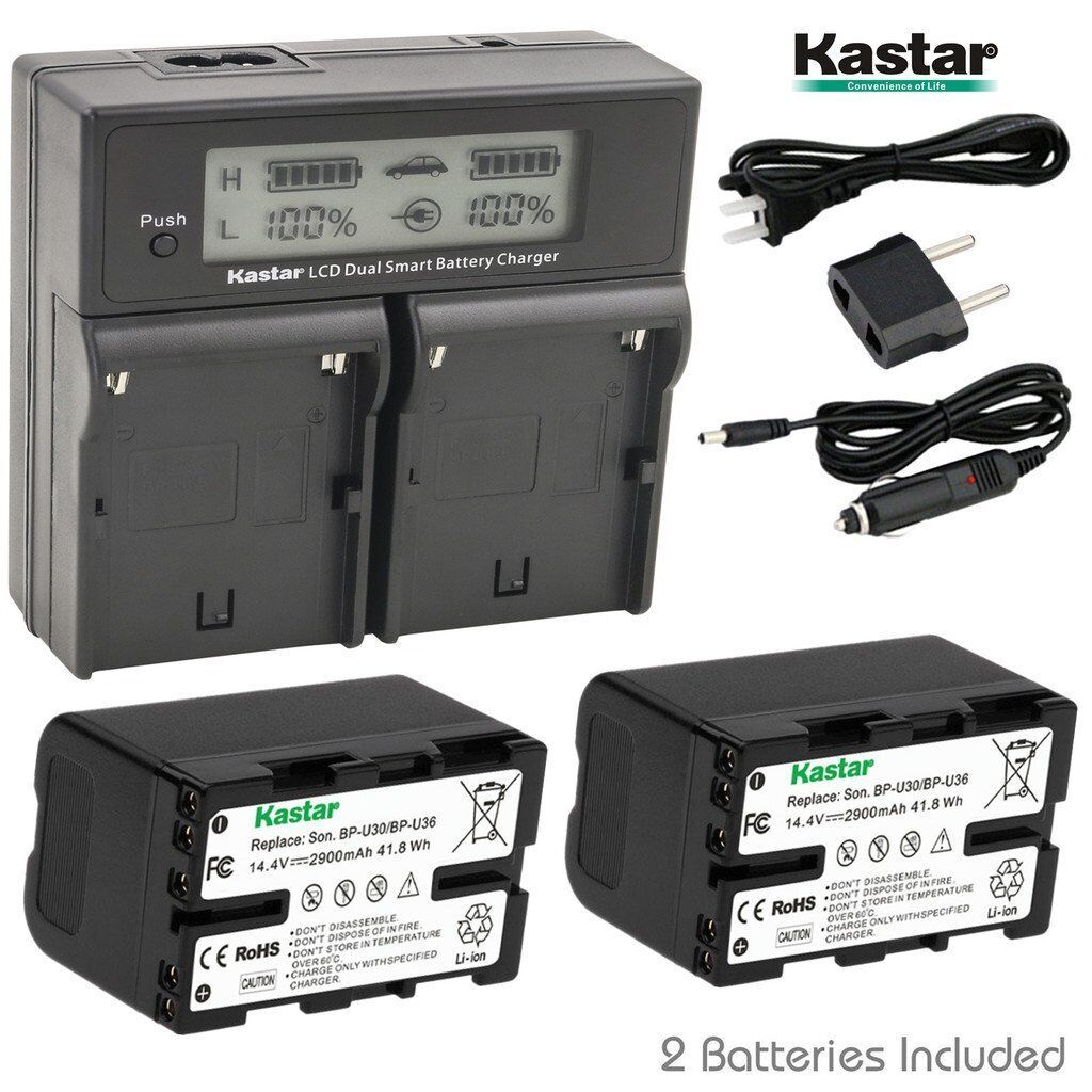 Kastar Lcd Dual Charger & 2 Battery For Sony Bp-u30 Pmw-3...