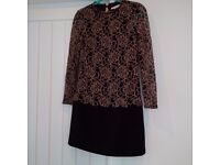 TED BAKER dress, lace detail, beautiful and very flattering, size 0 - fits a size 8