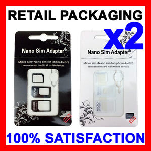 SIM Card Adapter Kit Nano Micro Standard Size Converter Tray for Apple & Samsung