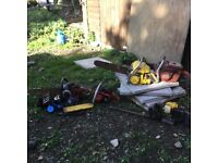 A selection of old chainsaws