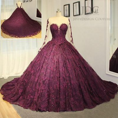 Ball Gown Scoop Neck - Burgundy Lace Scoop Neck Quinceanera Dress Prom Formal Wedding Ball Gown Custom