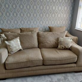 3 seater, 2 seater and chair. Good condition beige/brown in fabric. Very well built sofas.