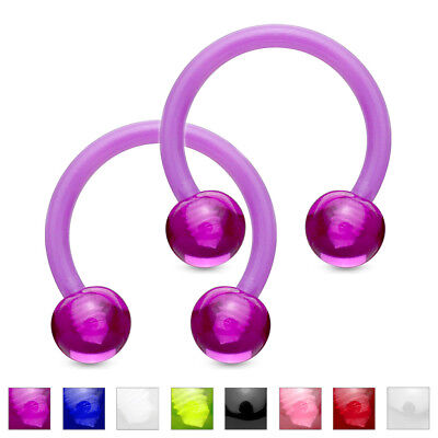 PAIR Flexible Circular Barbells Horseshoe Septum Eyebrow Nipple Tragus (Circular Horseshoe Rings)
