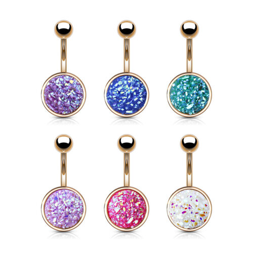 6pcs Rose Gold Druzy Stone Belly Rings 14g Navel Naval Body Jewelry Wholesale