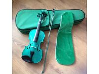 Green violin bow & case suitable for beginners