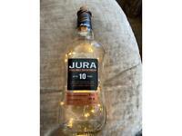 Whisky bottle light Jura wedding centre piece