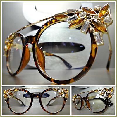 CLASSIC RETRO Bling CAT EYE Style Clear Lens EYE GLASSES Tortoise & Gold Frame