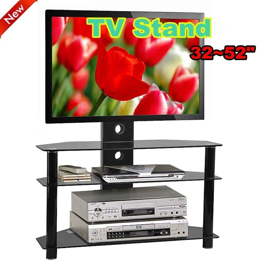 Black Glass Tv Stand Cabinet Chrome Tv Bracket Lcd Plasma Led