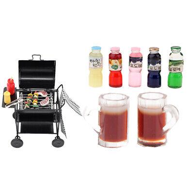 Mini Barbecue Spielzeug inkl. Grillwagen + Lebensmittel + Werkzeug für 1/12