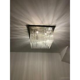 3 x Glass and Chrome Franklite ceiling lights