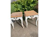 Pair oak designer tables