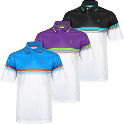 Mens Performance Golf Shirt (NEW ISLAND GREEN CHEST STRIPE LC AND LS PERFORMANCE MENS GOLF POLO SHIRT)