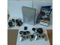 Sony PS2 Satin Silver Lmtd ed phat inc 8 game,mem card all leads!!