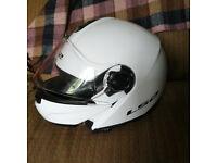 Strobe LS2 Flip Motorcycle Helmet Gloss White Large