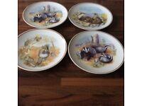 Wildlife of Britain badgers plates x4