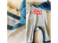 French connection romper and hat baby boys